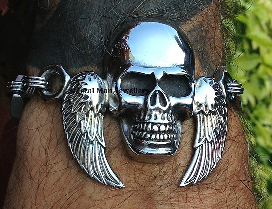 SW9 - Large Skull and Wing Bracelet