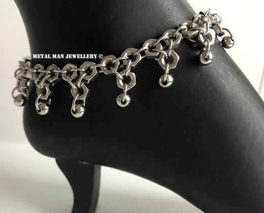 FA6 - Patterned hex nut anklet with beads
