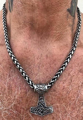 TH - Thor's hammer on a Wheat Weave Chain
