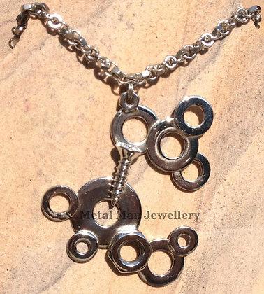 BL - Silver Brazed Nut, Washer & Screw Necklace