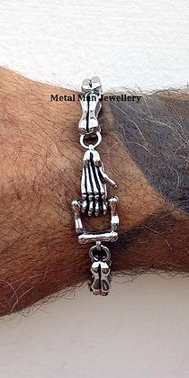 SKB - Bone and skeleton hand clasp bracelet