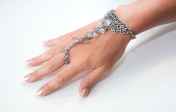 HB - Hex Nut and Glass Bead Hand Jewellery