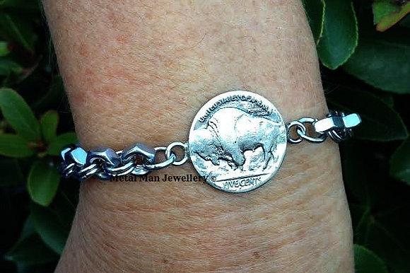 CA31- Buffalo nickel bracelet dual sided