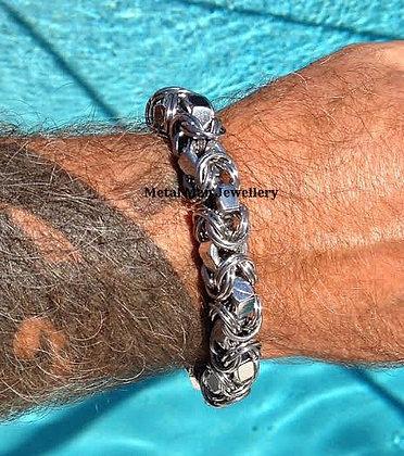 """BY10 - 3/8"""" hex nut Byzantine bracelet"""