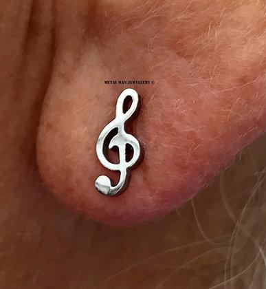 EM - Treble Clef post earrings