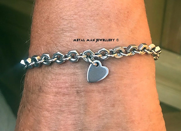 AHB - Heart on a hex nut bracelet