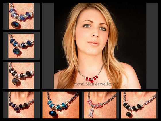 HA - Glass Bead and Hex Nut Necklace