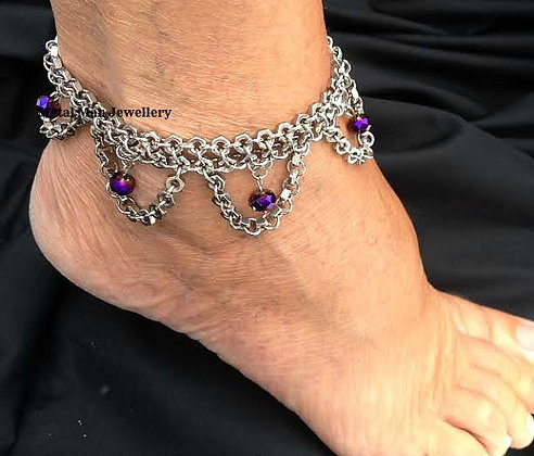 FL - Hex Nut and Glass Bead Ankle Cuff