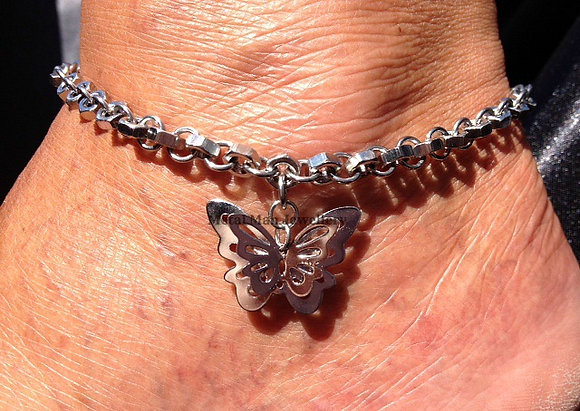 AB - 3D Butterfly, hex nut ankle chain