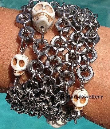 ST1 5 strand Skull & Hex Nut Cuff - special order