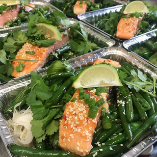 Sesame Ginger and Sweet Chili Baked Salmon with Rice Noodles