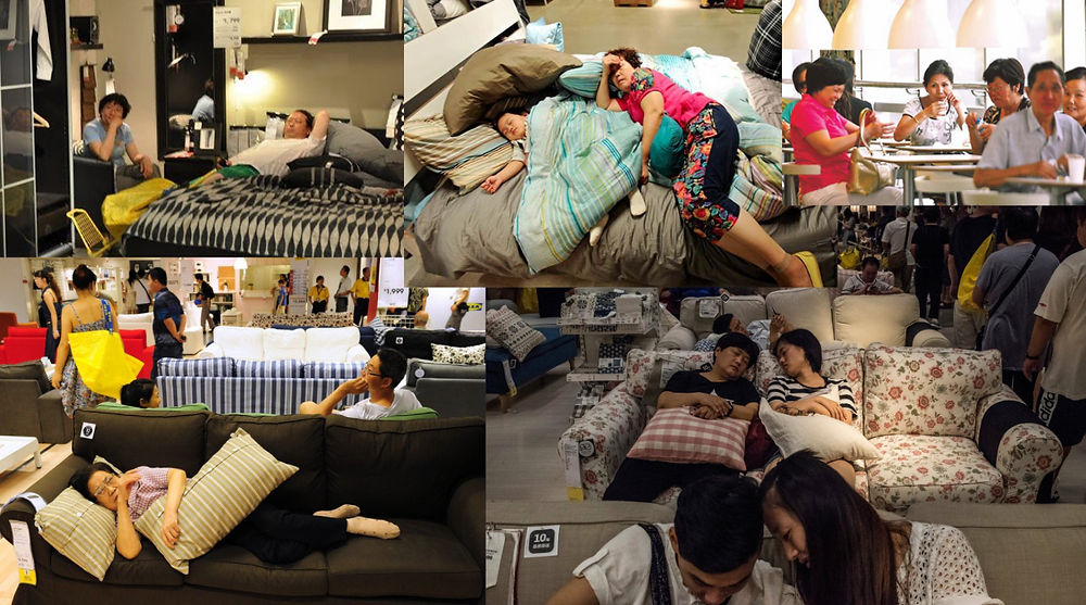 several pictures of Chinese consumers sleeping on the beds and couches of IKEA stores in China.
