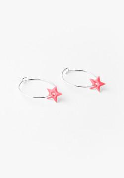 Hoop Star Earrings coral