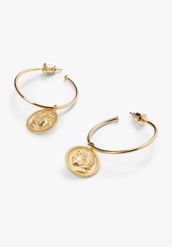 Roman coin Hoop Earrings side
