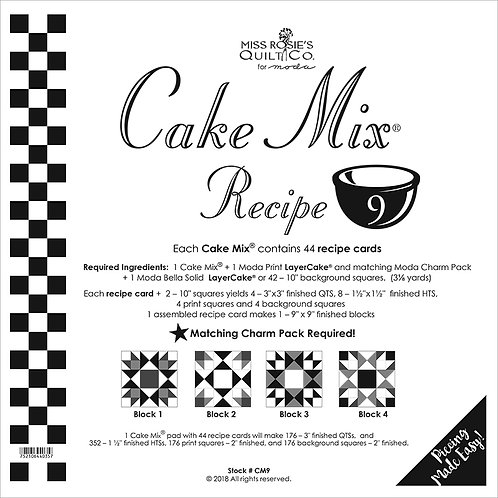 Miss Rosie's CUPCAKE MIX RECIPE 9 Foundation Layer Cake 44 Cards