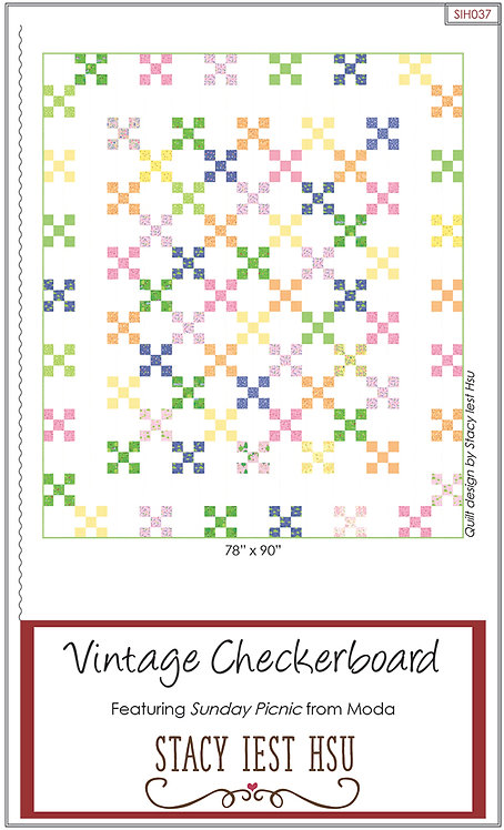 Sunday Picnic VINTAGE CHECKERBOARD Jelly Roll Pattern