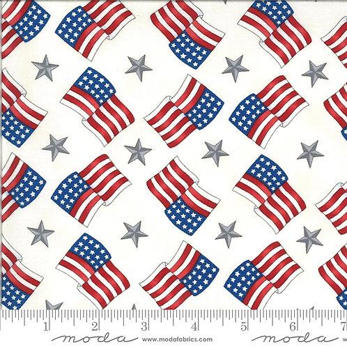 American the Beautiful 19986 12 White Flags Moda Deb Strain