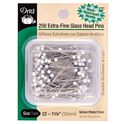 "EXTRA FINE GLASS HEAD PINS ~ 250 Count ~ DRITZ ~ 1 3/8"" Pins"