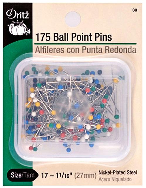 "BALL POINT PINS ~ 175 Count ~ DRITZ ~ 1 1/16"" Pins"