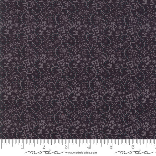 Kringle and Claus 30595 12 Black Floral Tonal Moda Basic Grey