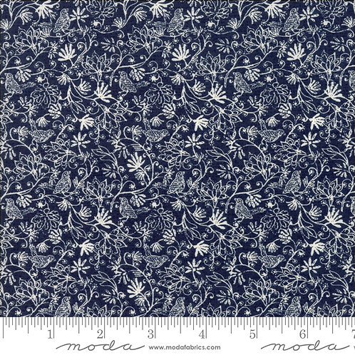 Nova 30586 21 Navy Blue Floral Moda Basic Grey