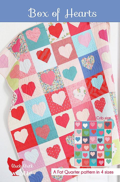 Cluck Cluck Sew BOX OF HEARTS Fat Quarter Pattern
