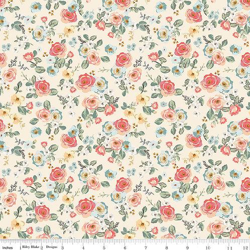 Gingham Gardens C10351C Cream Floral Riley Blake