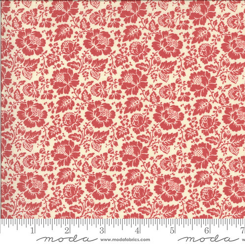 La Rose Rouge 13884 16 Faded Red Floral Moda French General