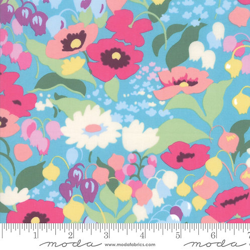 Regent Street LAWNS 33470 14 Turquoise Floral Moda