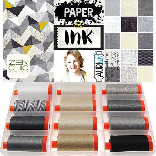 Aurifil Thread PAPER INK 12 spools 50wt