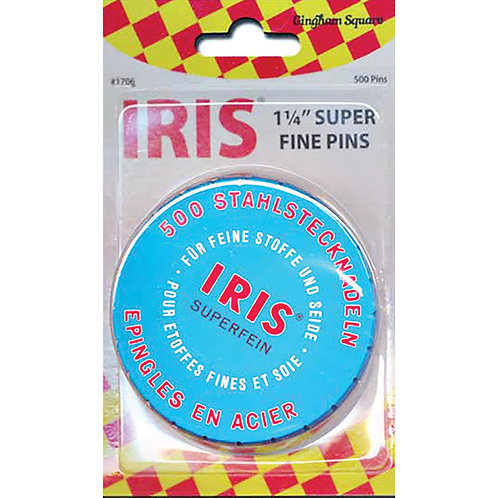 "IRIS SUPER FINE PINS ~ 500 Count ~ IRIS ~ 1 1/4"" Pins ~ SWISS"