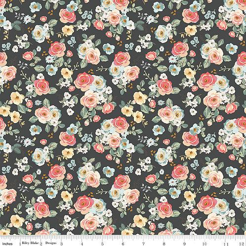 Gingham Gardens C10351B Black Floral Riley Blake