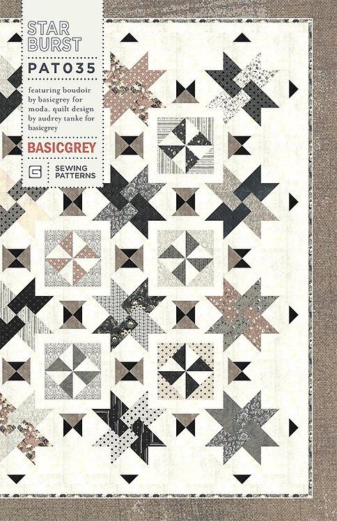 Basic Grey STAR BURST Fat Eighth Pattern