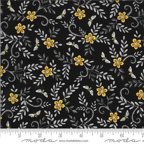Bee Grateful 19964 15 Black Floral Moda Deb Strain
