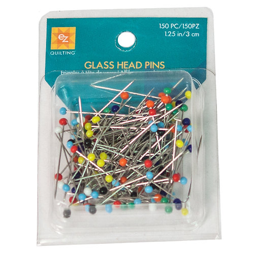 "GLASS HEAD PINS ~ 150 Count ~ EZ QUILTING ~ 1 1/4"" Pins"