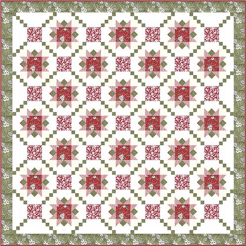 CHRISTMAS BLOOMS Red & Green Quilt KIT Lella PASTRY SHOP DESIGN