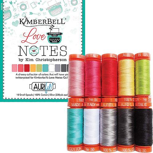 Aurifil Thread LOVE NOTES  KimberBell 10 spools 50wt