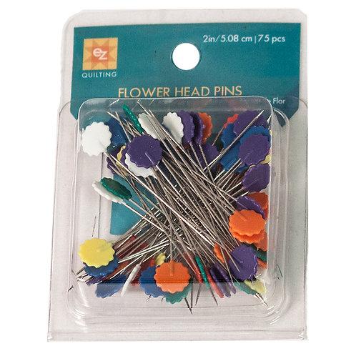 "FLOWER HEAD PINS ~ 75 Count ~ EZ QUILTING ~ 2"" Pns"