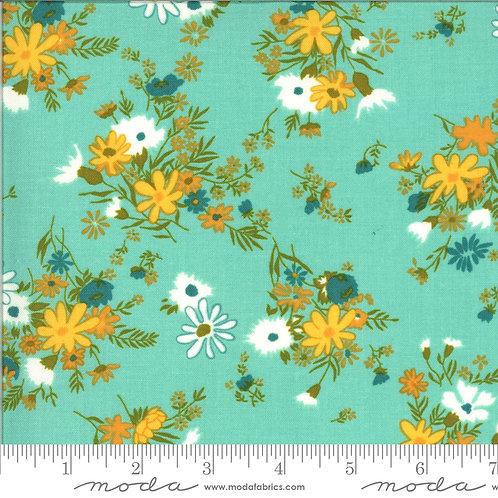 Blooming Bunch 40042 21 Aqua Floral Moda Maureen McCormick