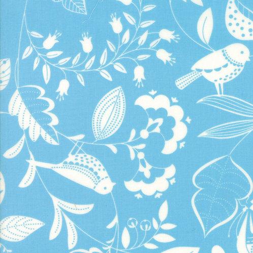 Wing & Leaf 10060 15 Blue Birds Moda Gina Martin
