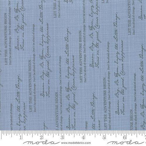 Sweet Tea 5721 22 Denim Blue Text Writing Tonal Moda Sweetwater