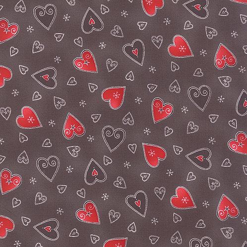 JOL 39701 18 Brown Hearts Moda Northern Quilts