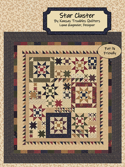 Kansas Trouble STAR CLUSTER Fat 1/8th Quilt Pattern