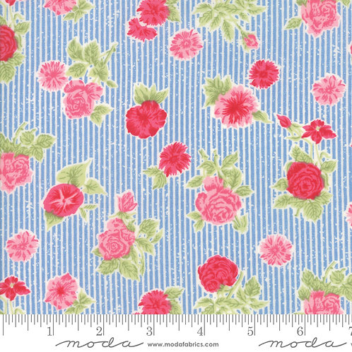Cottontail Cottage 2920 14 Blue Pink Floral Moda Bunny Hill