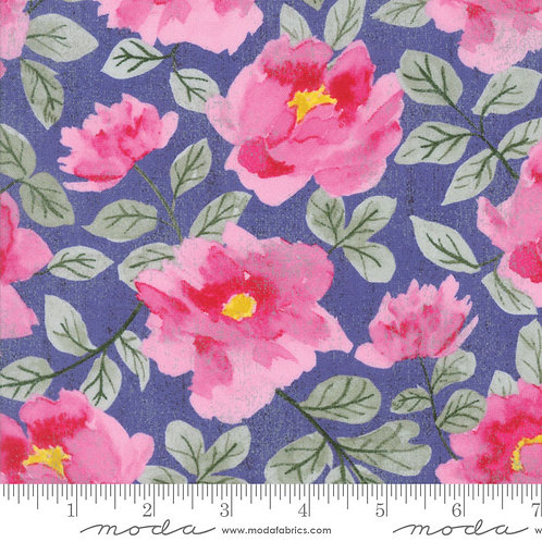 Saturday Morning 30440 13 Periwinkle Pink Floral Moda Basic Grey
