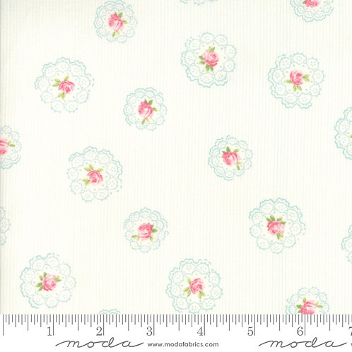 Caroline 18652 11 White Pink Floral Moda Brenda Riddle