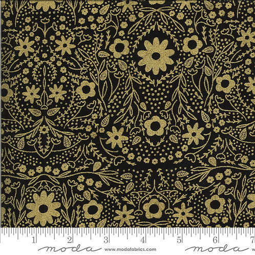 Dwell in Possibility 48312 33M Black Gold Metallic Moda Gingiber