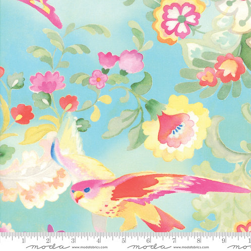 Flights of Fancy 33460 13 Aqua Floral Moda Momo