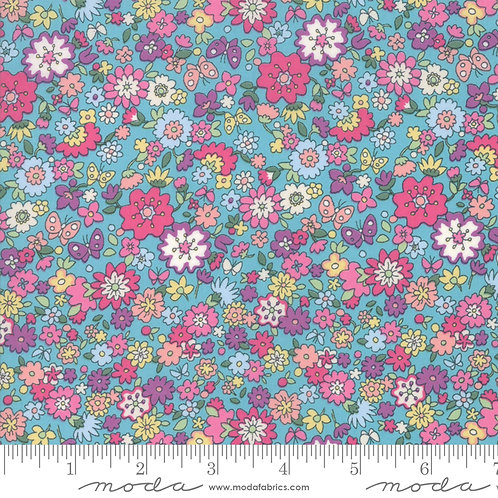 Regent Street LAWNS 33474 14 Turquoise Pink Floral Moda