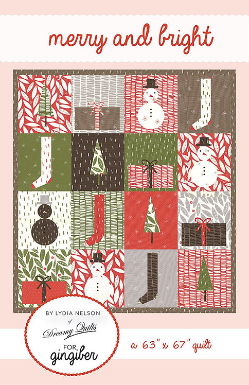 Gingiber MERRY & BRIGHT Fat Quarter Pattern